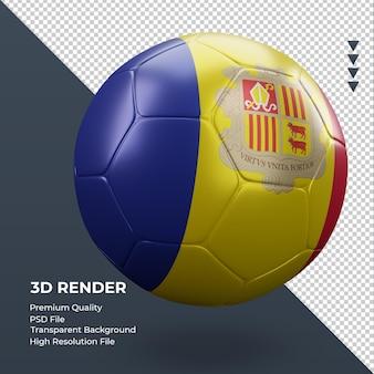 축구공 안도라 플래그 현실적인 3d 렌더링 왼쪽 보기