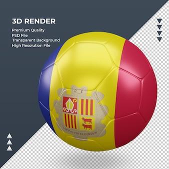 축구공 안도라 플래그 현실적인 3d 렌더링 오른쪽 보기