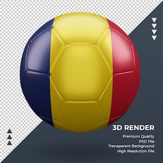 축구 공 차드 플래그 현실적인 3d 렌더링 전면 보기
