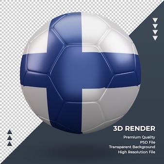 축구공 핀란드 국기 현실적인 3d 렌더링 전면 보기