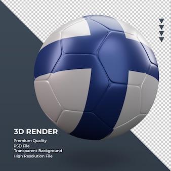 축구공 핀란드 국기 현실적인 3d 렌더링 왼쪽 보기