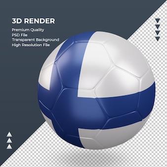 축구공 핀란드 플래그 현실적인 3d 렌더링 오른쪽 보기