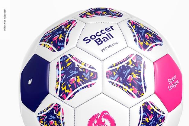 サッカーボールのモックアップ、クローズアップ