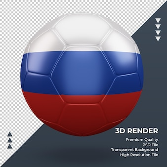 Футбольный мяч российский флаг реалистичный 3d-рендеринг вид спереди