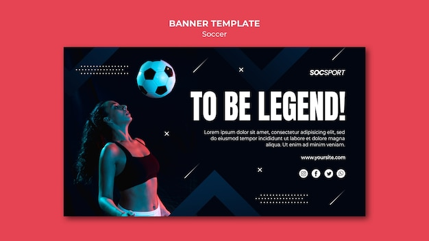 Soccer banner template theme