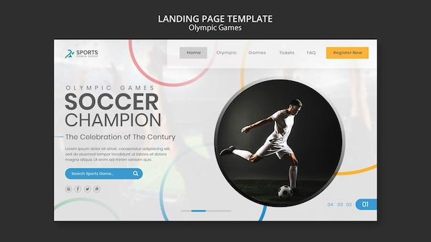Modello di pagina di destinazione del campione di calcio