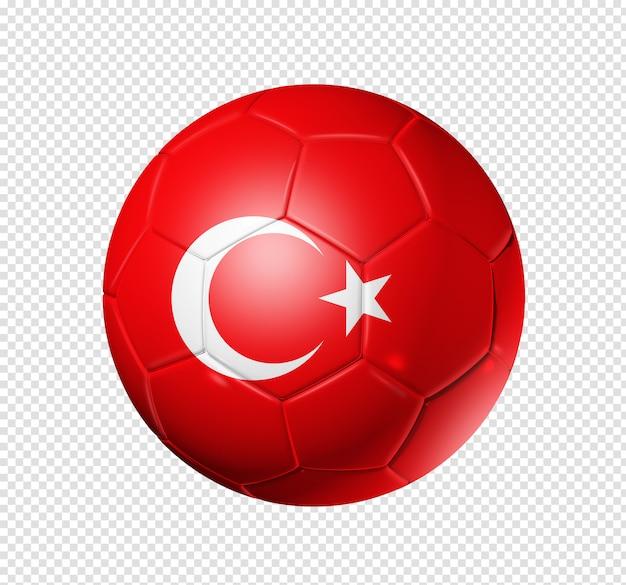 터키 국기와 함께 축구 공 축구