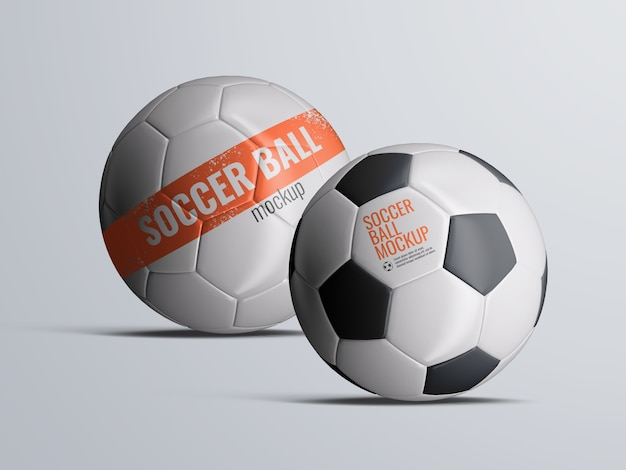 Soccer football balls mockup isolated