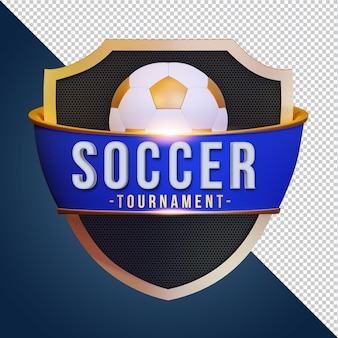 Soccer mockup with shield 3d rendering isolated