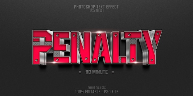 Soccer penalty 3d text style effect template