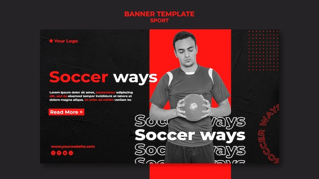 Soccer player banner template