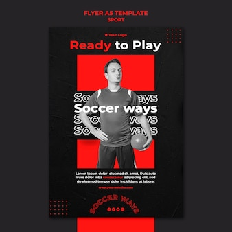 Soccer player flyer template