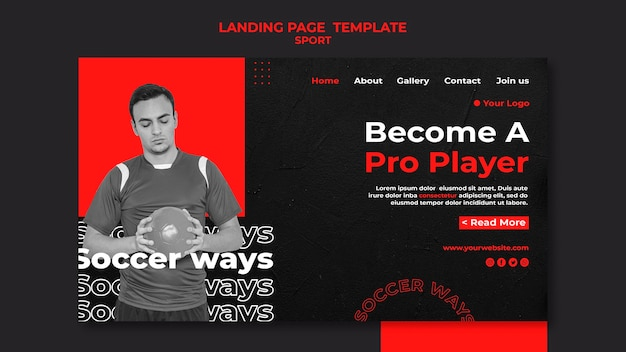 Soccer player landing page template