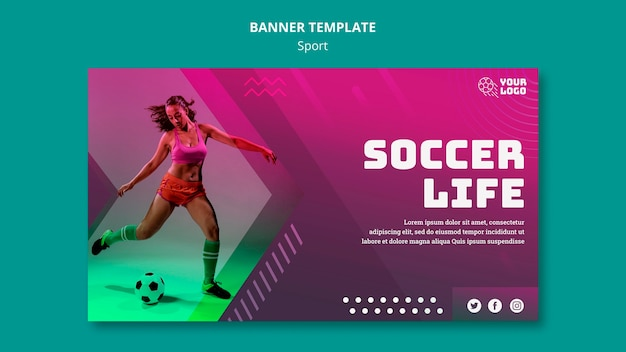 Soccer training banner template