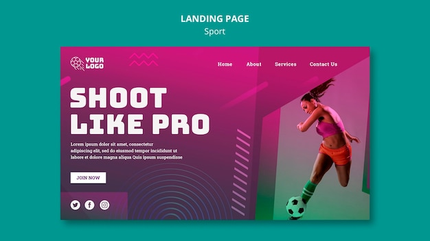 Soccer training landing page template