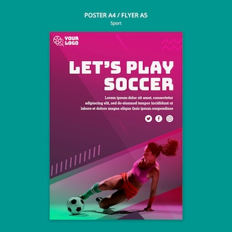 Soccer training poster template