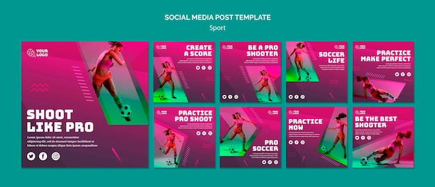 Soccer training social media post template