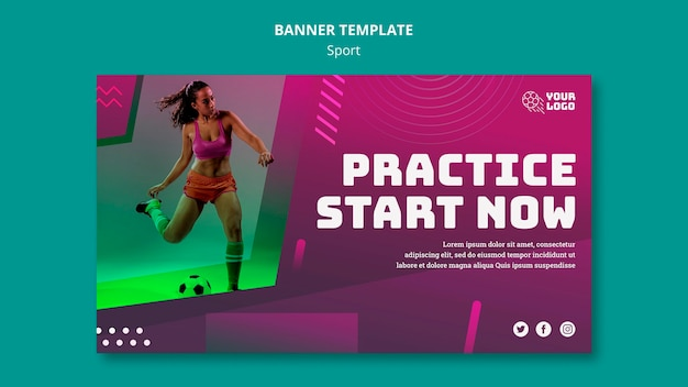 Soccer training template banner