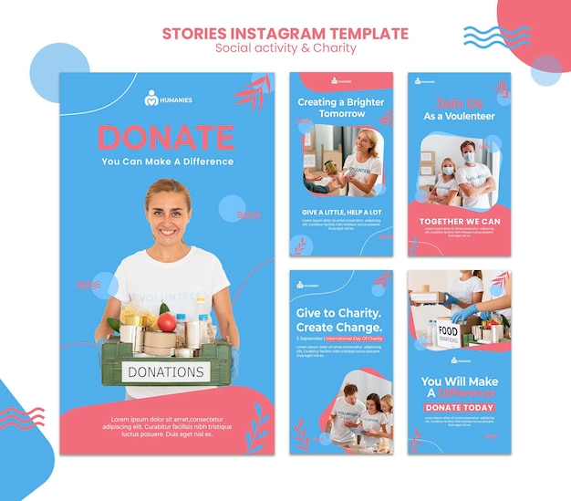 Шаблон историй социальной активности и благотворительности в instagram