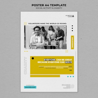 社会活動と慈善団体の垂直印刷テンプレート