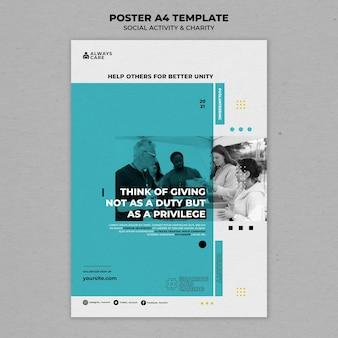 社会活動と慈善団体の垂直印刷テンプレート 無料 Psd