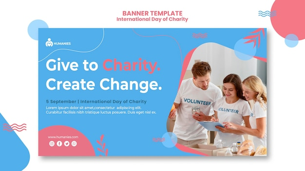 Social activity and charity banner template