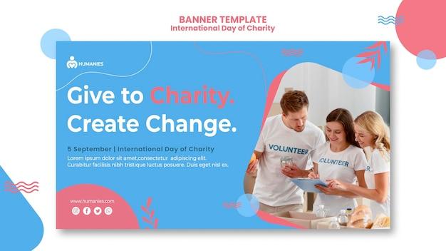 Modello di banner di attività sociale e beneficenza