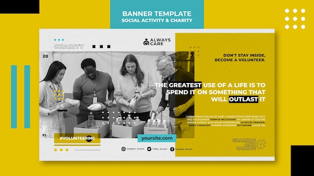 Social activity and charity horizontal banner template