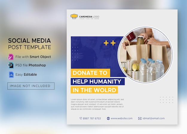 Social activity and charity instagram post or square flyer template premium psd