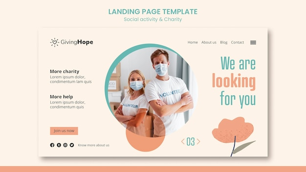Social activity and charity landing page template
