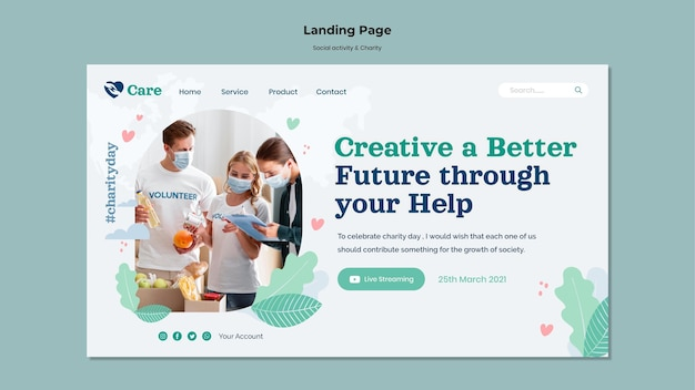 Social activity and charity landing page