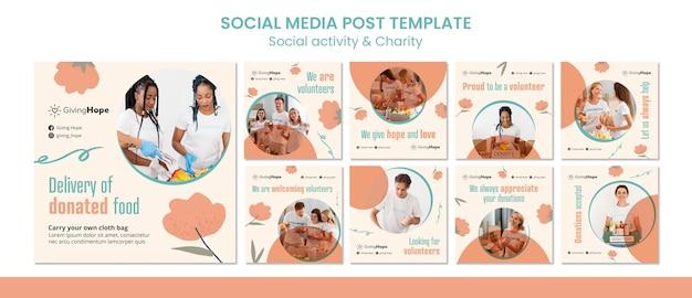 Social activity and charity social media post