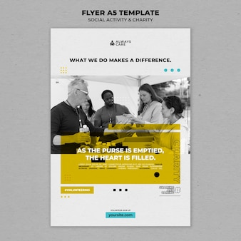 Social activity and charity vertical print template