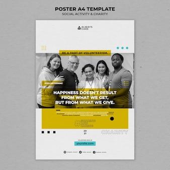 Attività sociale e modello di stampa verticale di beneficenza