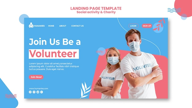 Social activity and charity web template