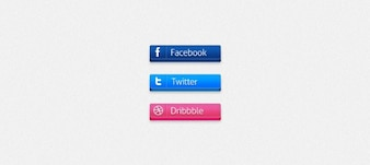 Social buttons 3d (Facebook / Twitter / Dribbble)