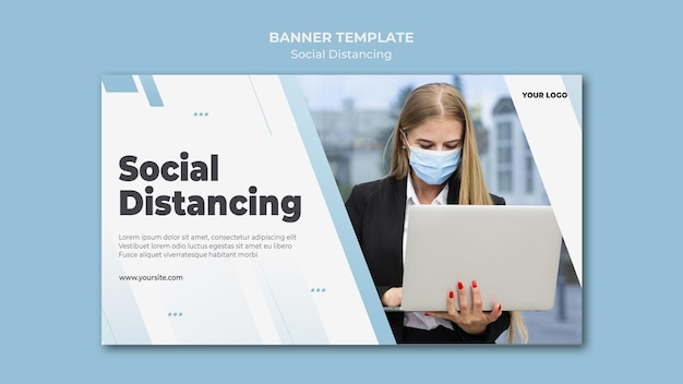 Social distancing banner with photo
