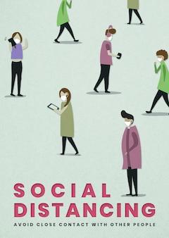 Социальное дистанцирование в макете социального шаблона в общественных местах