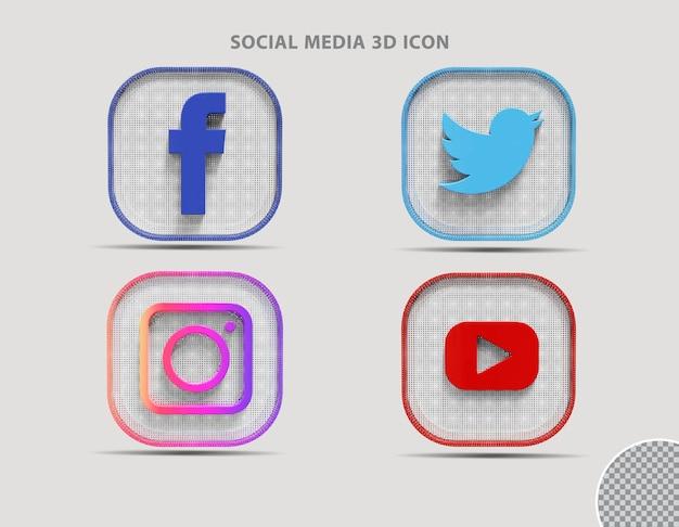 Социальные медиа 3d визуализации значка