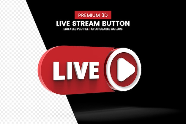 Social media 3d live streaming button isolated