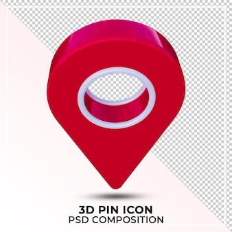 고립 된 소셜 미디어 3d 핀 아이콘