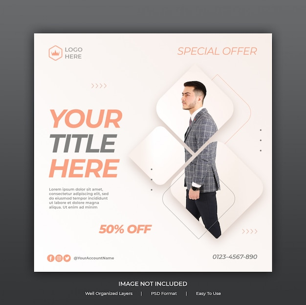 Social media ads banner template or square flyer