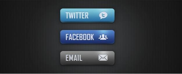 ソーシャルメディアと電子メールボタン