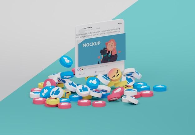 Interfaccia dell'app per social media su dispositivo mock-up