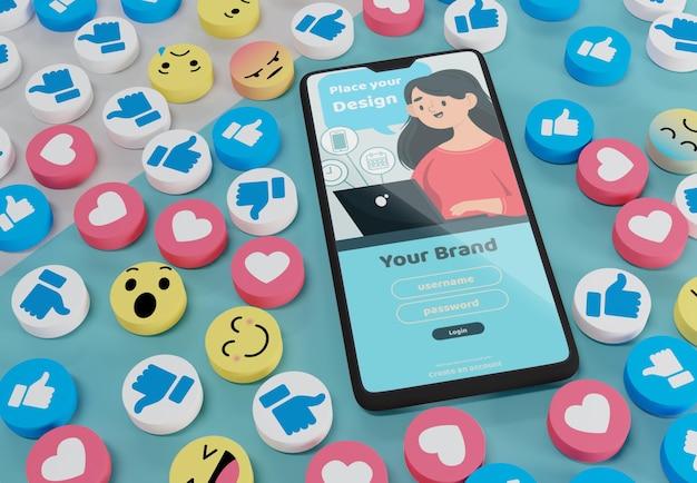 ソーシャルメディアアプリインターフェースのモックアップ