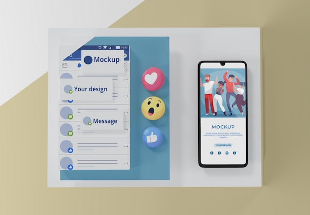 Social media app on mock-up device