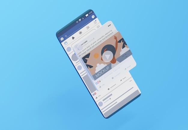 モックアップデバイス上のソーシャルメディアアプリ