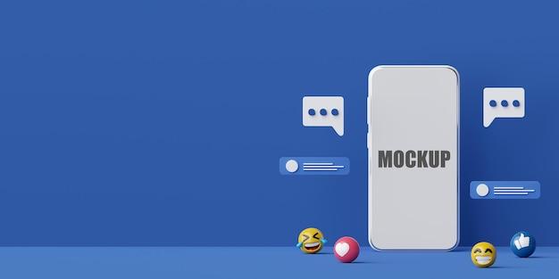전화 모형이있는 스마트 폰의 소셜 미디어 애플리케이션