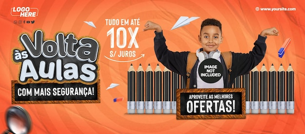 Social media banner a4 back to school in brazil more safely