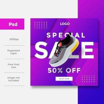 Social media banner ad layout design template